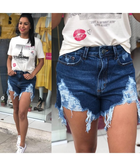 SHORT DESTROYED JEANS ESCURO